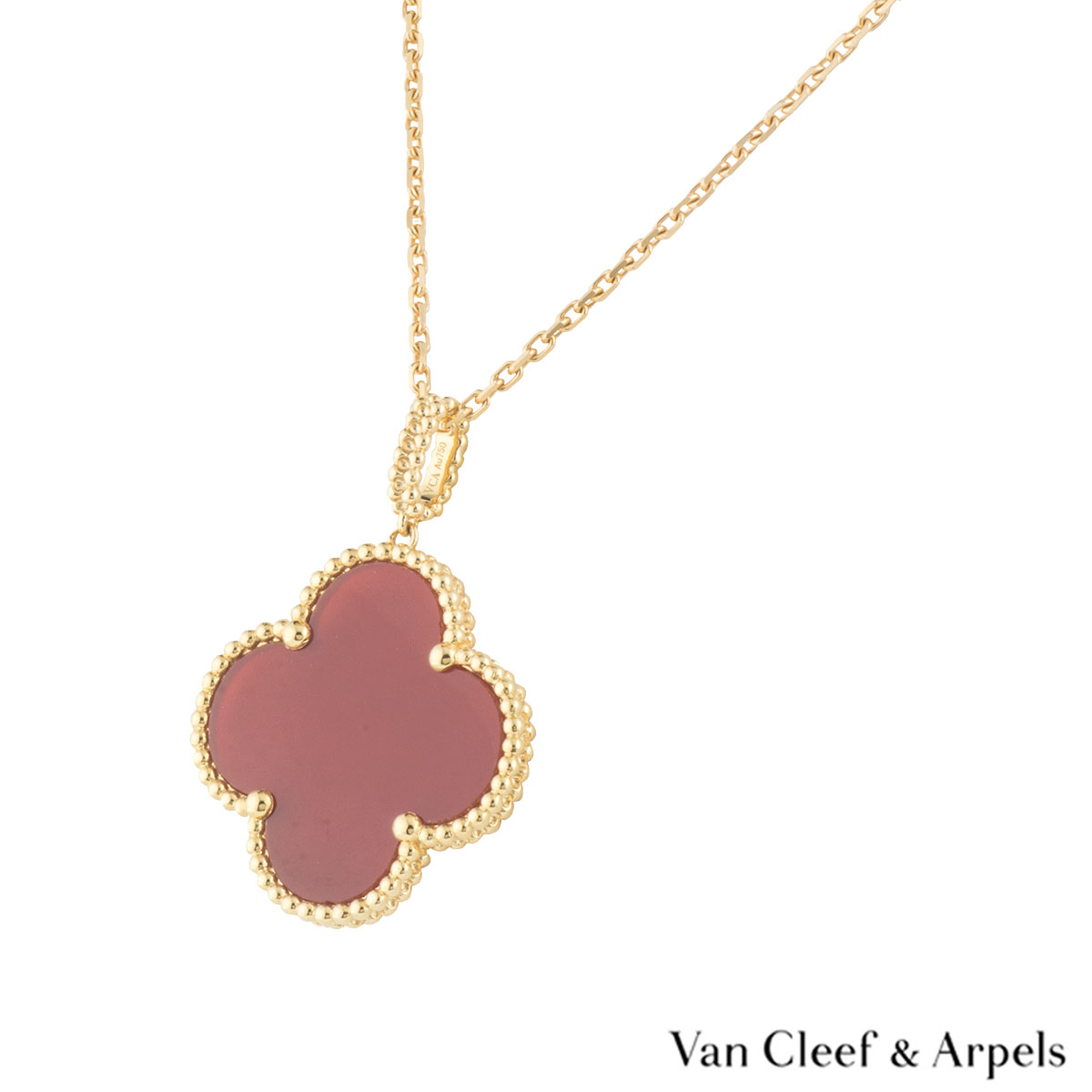 Van Cleef & Arpels Yellow Gold Carnelian Magic Alhambra Necklace VCARO49N00